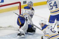 Buffalo Sabres' Ukko-Pekka Luukkonen (1) catches his left leg on the post during the second period of an NHL hockey game against the Boston Bruins, Saturday, May 1, 2021, in Boston. (AP Photo/Michael Dwyer)