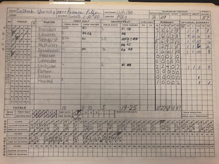 The scorebook for Caltech from a Jan. 30, 1980, basketball game against Pomona-Pitzer.
