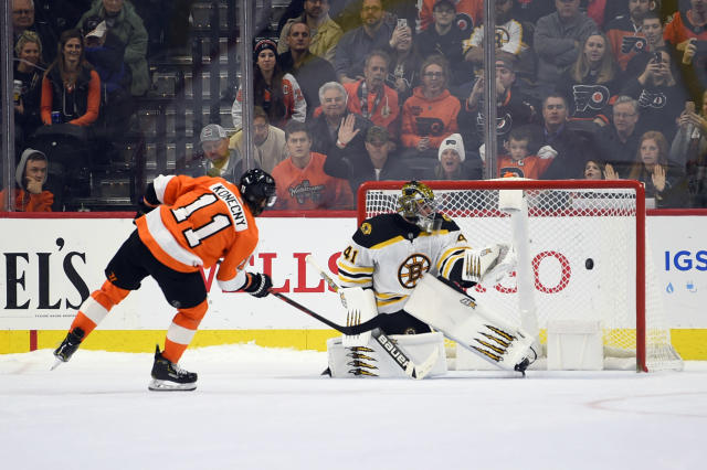 Philadelphia Flyers' Travis Konecny (11) scores a goal past Boston Bruins goaltender Jaroslav Halak in a shootout during an NHL hockey game, Monday, Jan. 13, 2020, in Philadelphia. The Flyers won 6-5. (AP Photo/Derik Hamilton)