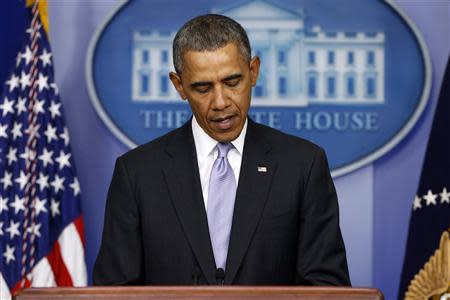 Obama delivers remarks on the situation in Ukraine from the press briefing room at the White House in Washington