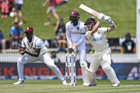New Zealand's Kane Williamson bats during play on day two of the first cricket test between the West Indies and New Zealand in Hamilton, New Zealand, Friday, Dec. 4, 2020. (Andrew Cornaga/Photosport via AP)