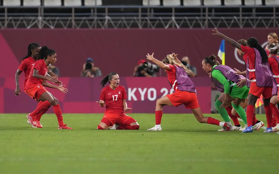 Jessie Fleming celebrates after scoring the only goal of the game - GETTY IMAGES