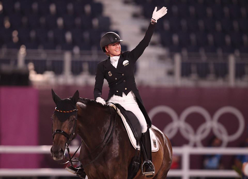 Jessica von Bredow-Werndl of Team Germany riding TSF Dalera reacts after competing in the Dressage Individual Grand Prix Freestyle Final - Julian Finney/Getty Images