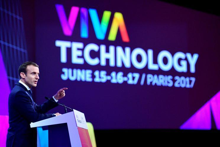 French President Emmanuel Macron delivers a speech during the Viva Technology conference dedicated to start-ups development, innovation and digital technology in Paris, France, June 15, 2017. REUTERS/Martin Bureau/Pool