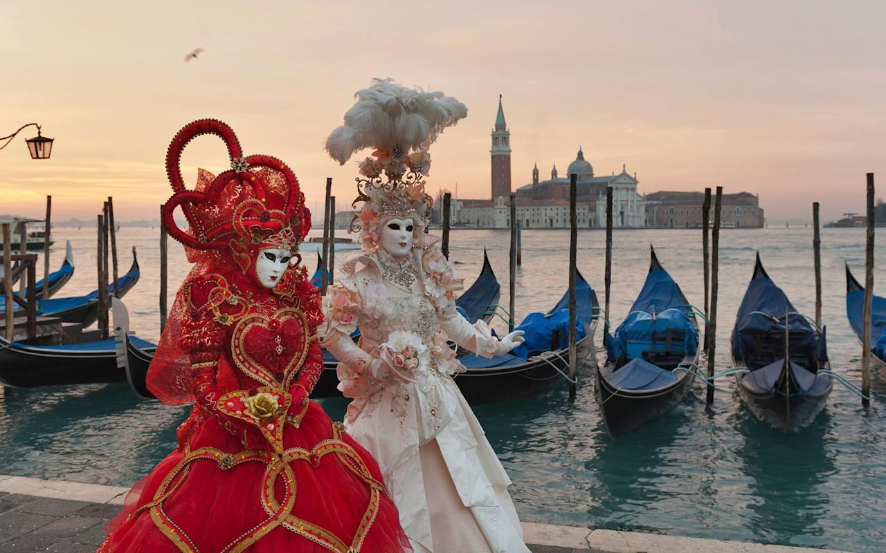 <p>Extravagant costumes and decorative masks make Venice's Carnevale one of Europe's most elegant events. Carnevale, which attracts approximately 3 million people to Venice each year, is a celebration rooted in a series of historical reenactments and lavish masquerade balls. The two weeks of festivities commence with an acrobatic water show on the Rio di Cannaregio canal and include the famed <i>Volo dell'Angelo </i>(Flight of the Angel) zipline from the Campanile in St. Mark's Square. Watch as the streets of Venice become a living museum of full period costumes and masked Venetian revelers during this festival. </p>
