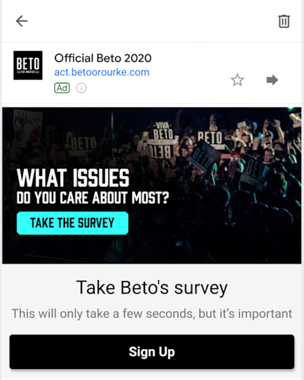 a screenshot of an ad from the Beto O'Rourke campaign as it appeared in Gmail last month
