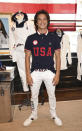 Skateboarder Heimana Reynolds participates in the Team USA Tokyo Olympic closing ceremony uniform unveiling at the Ralph Lauren SoHo Store on April 13, 2021, in New York. Ralph Lauren is an official outfitter of the 2021 U.S. Olympic Team. (Photo by Evan Agostini/Invision/AP)