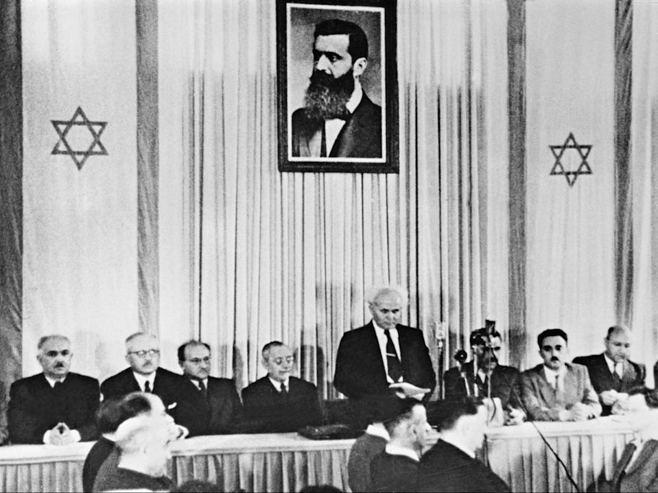 The first Israeli prime minister David Ben-Gurion officially proclaims the state of Israel in Tel Aviv in 1948AFP/Getty