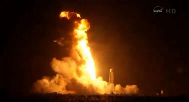 An unmanned Antares rocket is seen exploding seconds after lift off from a commercial launch pad in this still image from NASA video at Wallops Island