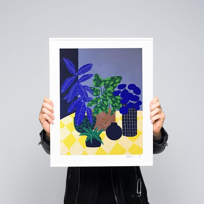 """For something slightly moody, this piece by French illustrator Hello Marine is all about subtle shading and shapes. $185, Absolut Art. <a href=""""https://www.absolutart.com/us/artist/hello-marine/artwork/mr-sun/"""" rel=""""nofollow noopener"""" target=""""_blank"""" data-ylk=""""slk:Get it now!"""" class=""""link rapid-noclick-resp"""">Get it now!</a>"""