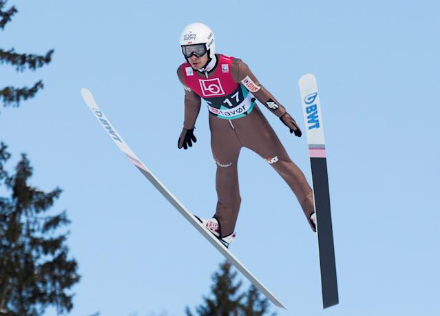 Ski Jumping - FIS World Cup - Men's HS240 Qualification - Vikersund, Norway - March 16, 2018 Jakub Wolny of Poland in action. Terje Bendiksby/NTB Scanpix/via REUTERS ATTENTION EDITORS - THIS IMAGE WAS PROVIDED BY A THIRD PARTY. NORWAY OUT.