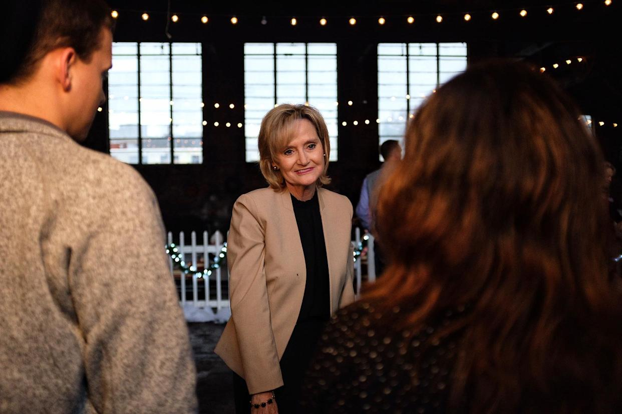 Sen. Cindy Hyde-Smith speaks to supporters at a rally in Meridian, Miss. (Photo: Holly Bailey/Yahoo News)