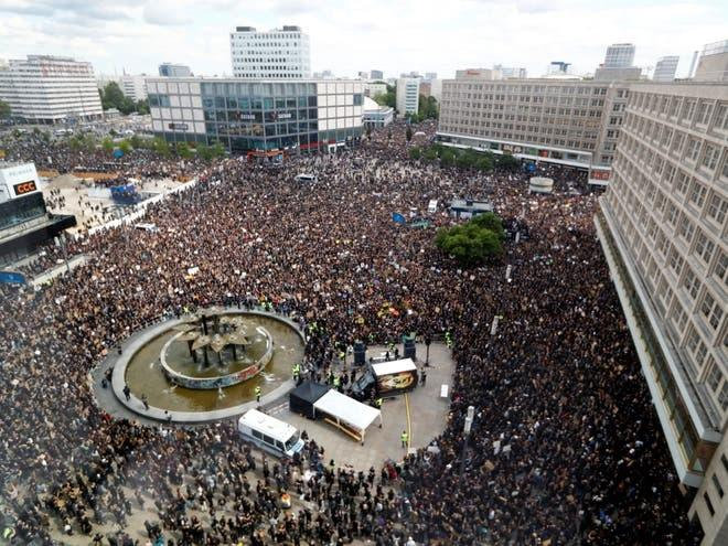 Berlin's Alexanderplatz filled with thousands of peaceful demonstrators (Reuters)