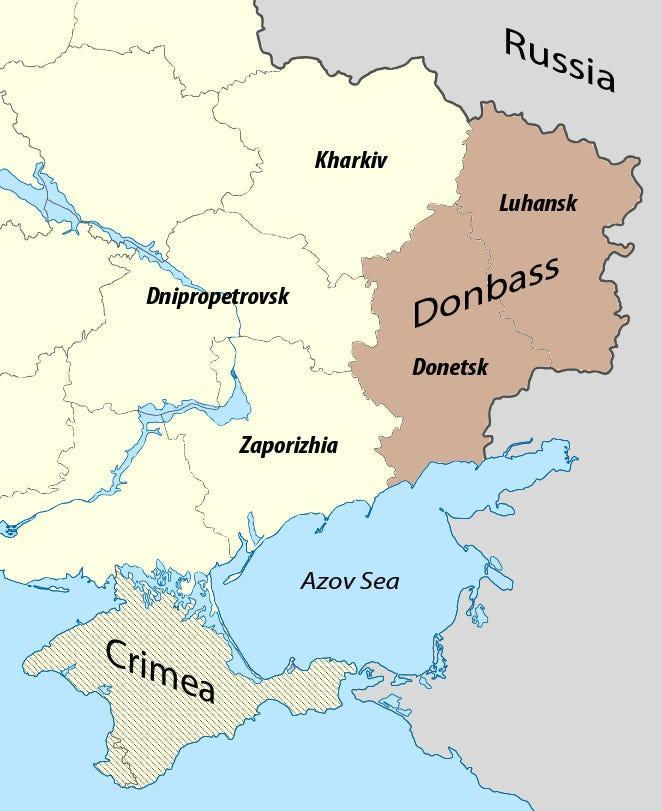 Map of the Donbass