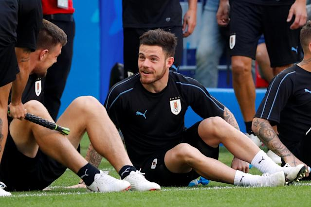 Soccer Football - World Cup - Uruguay Training - Samara Arena, Samara, Russia - June 24, 2018 Uruguay's Nahitan Nandez during training REUTERS/David Gray