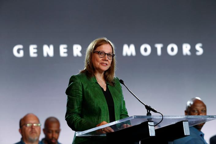 General Motors Chairman and Chief Executive Officer Mary Barra speaks during the opening of their contract talks with the United Auto Workers in Detroit on July 16, 2019.
