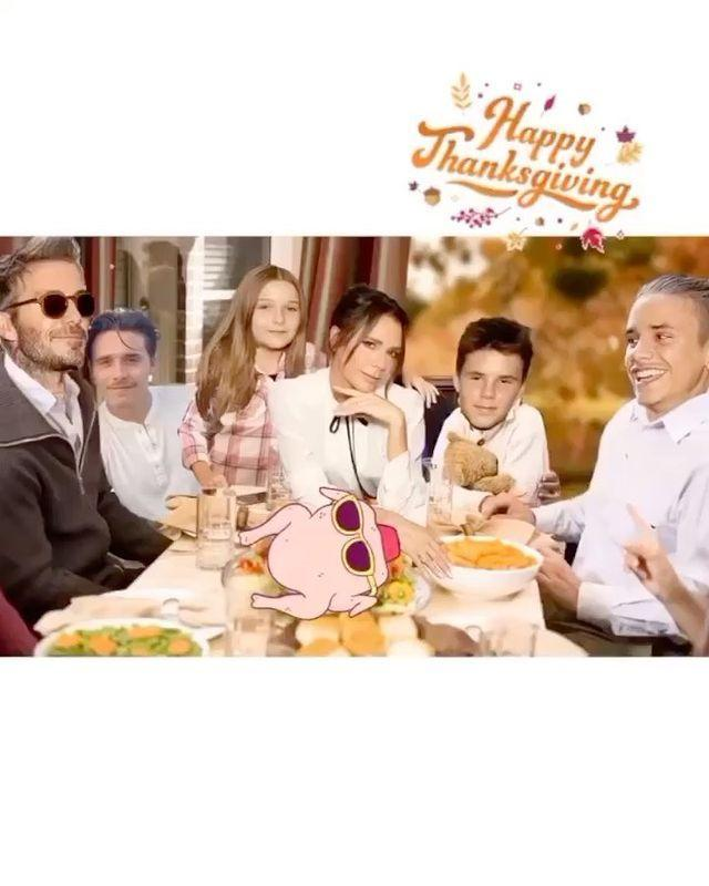 """<p>""""Happy Thanksgiving to everyone celebrating today, from our family to yours!</p><p>Together in spirit (and this picture 😂) even though we can't be together in person this year. We're so grateful for all our amazing memories made in the USA and can't wait to visit again (hopefully) very soon. Kisses from us all <a href=""""https://www.instagram.com/davidbeckham/"""" rel=""""nofollow noopener"""" target=""""_blank"""" data-ylk=""""slk:@davidbeckham"""" class=""""link rapid-noclick-resp"""">@davidbeckham</a> <a href=""""https://www.instagram.com/brooklynbeckham/"""" rel=""""nofollow noopener"""" target=""""_blank"""" data-ylk=""""slk:@brooklynbeckham"""" class=""""link rapid-noclick-resp"""">@brooklynbeckham</a> <a href=""""https://www.instagram.com/romeobeckham/"""" rel=""""nofollow noopener"""" target=""""_blank"""" data-ylk=""""slk:@romeobeckham"""" class=""""link rapid-noclick-resp"""">@romeobeckham</a> <a href=""""https://www.instagram.com/cruzbeckham/"""" rel=""""nofollow noopener"""" target=""""_blank"""" data-ylk=""""slk:@cruzbeckham"""" class=""""link rapid-noclick-resp"""">@cruzbeckham</a> <a href=""""https://www.instagram.com/explore/tags/harperseven/"""" rel=""""nofollow noopener"""" target=""""_blank"""" data-ylk=""""slk:#HarperSeven"""" class=""""link rapid-noclick-resp"""">#HarperSeven</a> xx.""""</p><p><a href=""""https://www.instagram.com/p/CIDgkGGpAdw/"""" rel=""""nofollow noopener"""" target=""""_blank"""" data-ylk=""""slk:See the original post on Instagram"""" class=""""link rapid-noclick-resp"""">See the original post on Instagram</a></p>"""