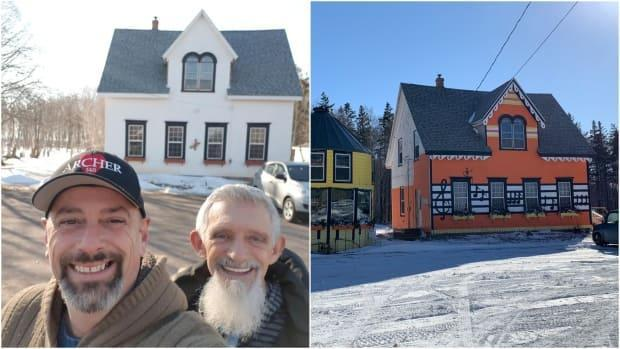Tim Archer and Ricky Lee at the manse before restoration, left, and the building in winter 2021, right.