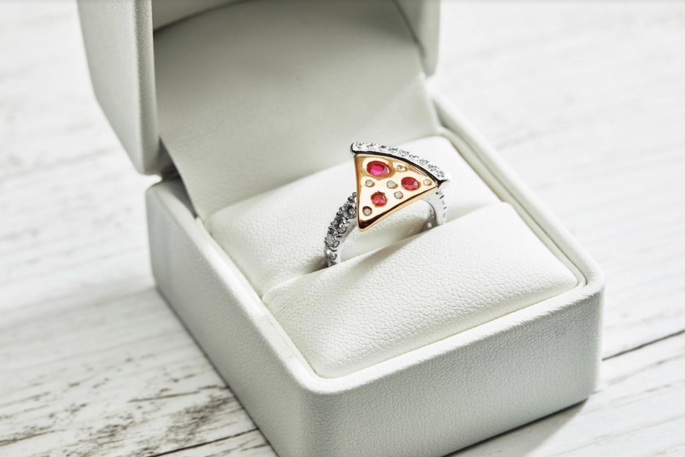 Domino's Australia's pizza engagement ring in a white ring box