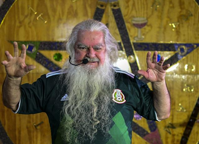 Antonio Vazquez, the self-appointed 'Brujo Mayor' or Grand Warlock of Mexico predicted country's performance in the 2018 soccer World Cup and performed a ritual to bring the national team good luck. (Getty Images)