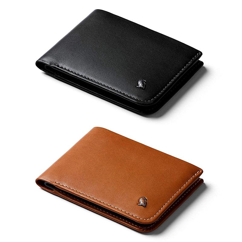 Bellroy Hide & Seek Slim Leather Wallet with RFID in Black and Caramel. (Photo: Amazon)