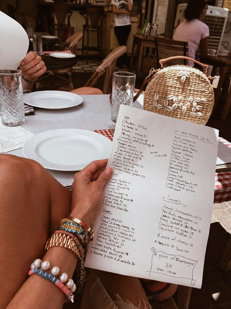 We've landed in Tel Aviv! This is the menu at the most charming little lunch spot, Habasta.