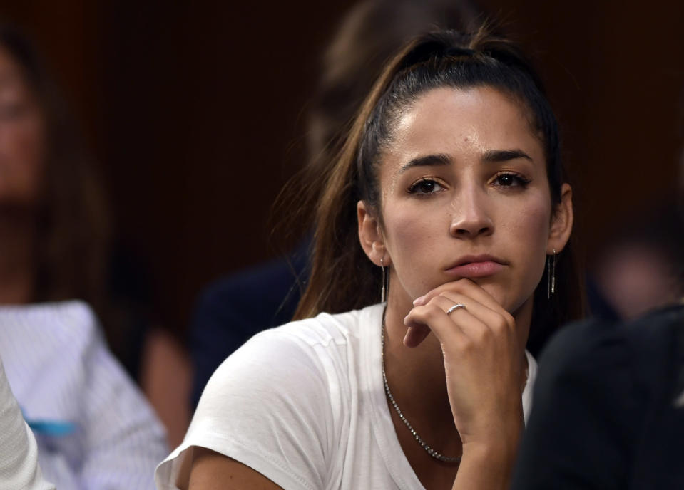 Aly Raisman got her first chance to meet incoming USOC CEO Sarah Hirshland and was less than happy with how the meeting went. (Getty Images)