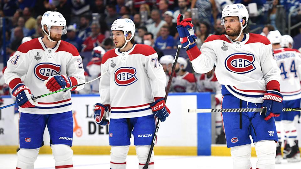 TAMPA, FLORIDA - JUNE 28: Ben Chiarot #8 of the Montreal Canadiens signals from the ice while playing against the Tampa Bay Lightning during the first period of Game One of the 2021 Stanley Cup Final at Amalie Arena on June 28, 2021 in Tampa, Florida. (Photo by Florence Labelle/NHLI via Getty Images)