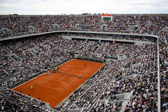 """The French Open at Roland Garros has been suspended from May until September because of the coronavirus outbreak. <span class=""""copyright"""">(Christophe Archambault / AFP via Getty Images)</span>"""