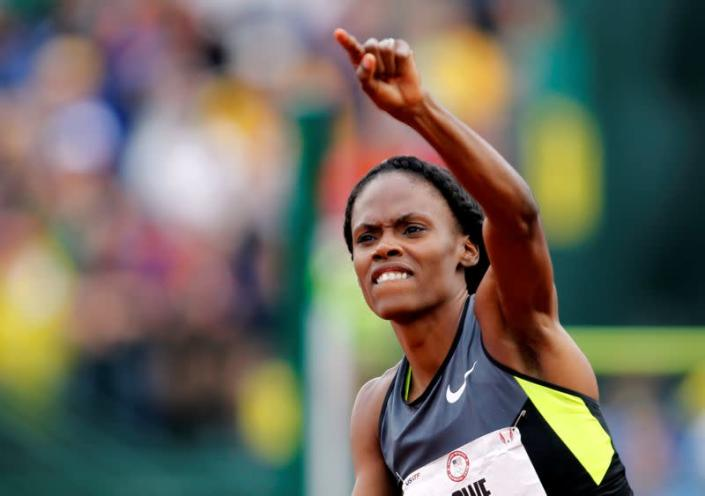 FILE PHOTO: U.S. women's high jumper Chaunte Lowe reacts following the women's high jump finals at the U.S. Olympic athletics trials in Eugene