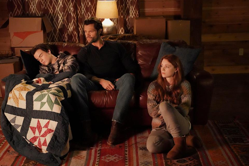 """Cordell Walker (Jared Padalecki, center) returns home to Austin and has trouble reconnecting with kids (Kale Culley and Violet Brinson) in """"Walker,"""" a new reboot of the 1990s Chuck Norris TV show."""