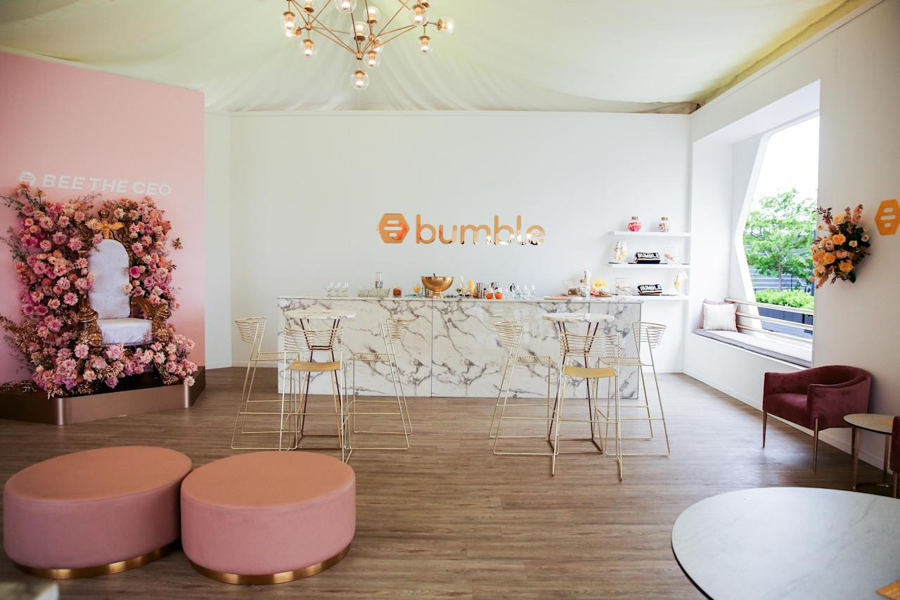 <p>Bumble has opted for sophistication, elegance and femininity for its marquee design, with a soft pastel colour palette and floral installations.<br />Photo: Bumble </p>