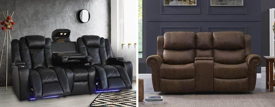 Wide Faux Leather Home Theater Loveseat with Cup Holder and Genuine Leather Power Recliner Home Theater with Cup Holder