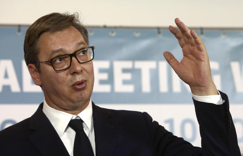 Serbia's President Aleksandar Vucic talks for the media during a joint news conference, following the Western Balkan leaders' meeting in the southwestern town of Ohrid, North Macedonia, Sunday, Nov. 10, 2019. Western Balkan leaders say they are committed to work closely and to remove administrative barriers for free movement of goods and people between their countries. (AP Photo/Boris Grdanoski)