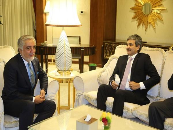 Abdullah Abdullah, the chairperson of Afghanistan's High Council for National Reconciliation and JP Singh, Joint Secretary (Pakistan-Afghanistan-Iran) in the Ministry of External Affairs