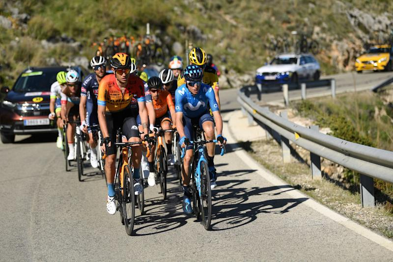 BEDA SPAIN FEBRUARY 21 Marc Soler of Spain and Movistar Team Lennard Hofstede of The Netherlands and Team JumboVisma Damiano Caruso of Italy Team Bahrain McLaren during the 66th Vuelta a Andaluca Ruta del Sol 2020 Stage 3 a 1769km stage from Jan to beda 727m VCANDALUCIA UCIProSeries on February 21 2020 in beda Spain Photo by David RamosGetty Images