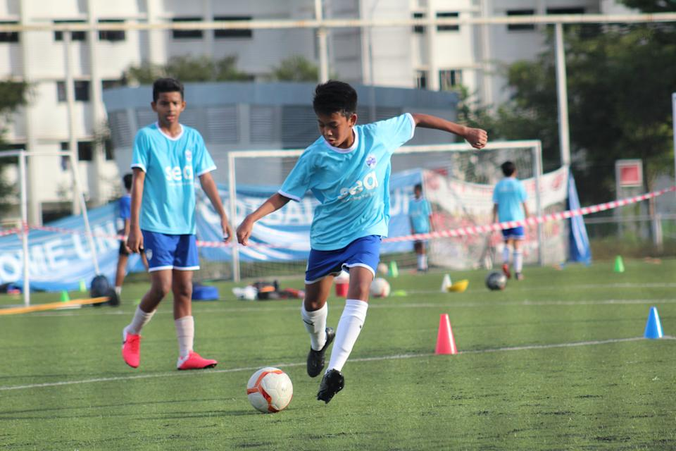 Lion City Sailors Football Academy players during training. (PHOTO: LCS Football Academy)