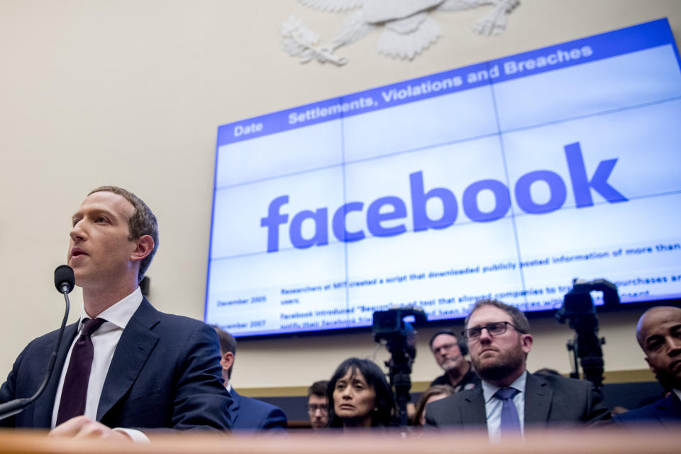 Facebook CEO Mark Zuckerberg testifies before a House Financial Services Committee hearing on Capitol Hill in Washington, Wednesday, Oct. 23, 2019, on Facebook's impact on the financial services and housing sectors. (AP Photo/Andrew Harnik)