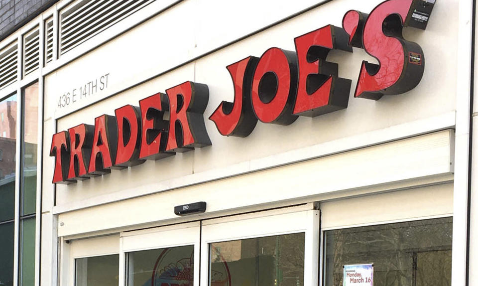 """Photo by: STRF/STAR MAX/IPx 2020 7/20/20 Trader Joe's to stop labeling its international food products with ethnic-sounding names such as 'Trader Ming's"""", """"Trader Jose"""" or """"Trader Giotto's"""". STAR MAX File Photo: 3/18/20 Long Lines form outside Trader Joes as New Yorkers stock up on supplies as Coronovirus fears deepen."""