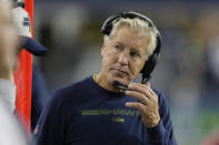 Seattle Seahawks coach Pete Carroll stands on the sideline during the second half of the team's NFL preseason football game against the Denver Broncos, Saturday, Aug. 21, 2021, in Seattle. (AP Photo/Stephen Brashear)