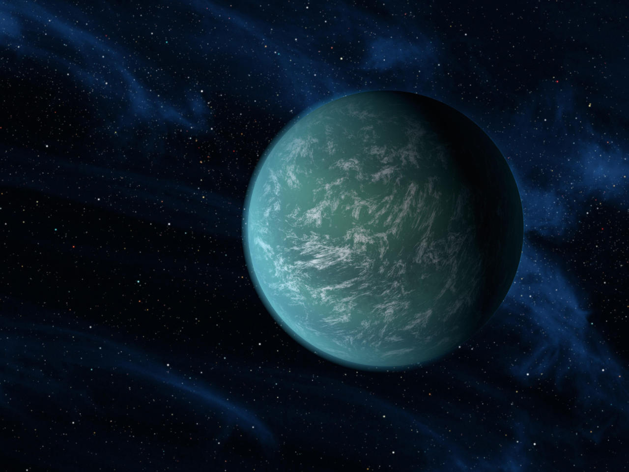 An artist's illustration of Kepler-22b, a planet known to comfortably circle in the habitable zone of a sun-like star, is seen in this undated handout picture released by NASA, December 5, 2011. Kepler-22b, the most Earth-like planet ever discovered is circling a star 600 light years away, a key finding in an ongoing quest to learn if life exists beyond Earth, scientists said on Monday. Kepler-22b joins a list of more than 500 planets found to orbit stars beyond our solar system. It is the smallest and the best positioned to have liquid water on its surface - among the ingredients necessary for life on Earth. REUTERS/NASA/Ames/JPL-Caltech/Handout