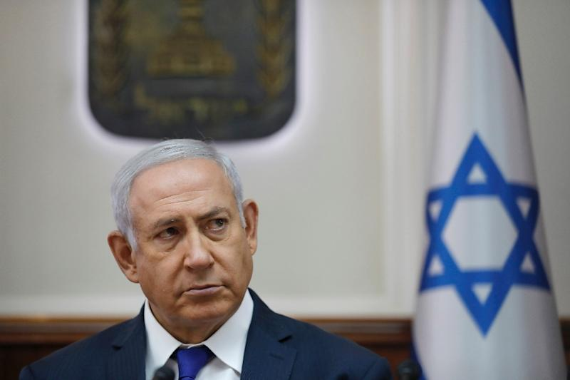 Israeli Prime Minister Benjamin Netanyahu attends the weekly cabinet meeting at the Prime Minister's office in Jerusalem on October 7, 2018
