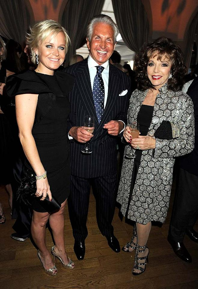 """Even the golden oldies were in attendance at the fancy fete -- perma-tanned actor George Hamilton and his girlfriend Barbara Sturm caught up with """"Dynasty"""" diva Joan Collins, who was impeccably attired as usual. Dave M. Benett/VF1/<a href=""""http://www.wireimage.com"""" target=""""new"""">WireImage.com</a> - May 15, 2010"""