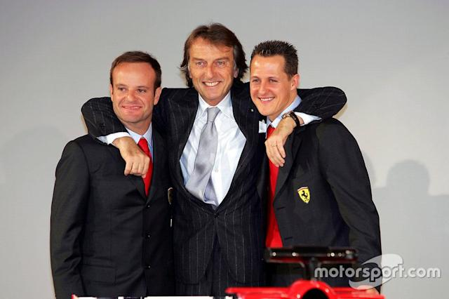 """Luca Di Montezemolo, Ferrari President, with drivers Rubens Barrichello and Michael Schumacher, at the launch of the F2005 <span class=""""copyright"""">Motorsport Images</span>"""