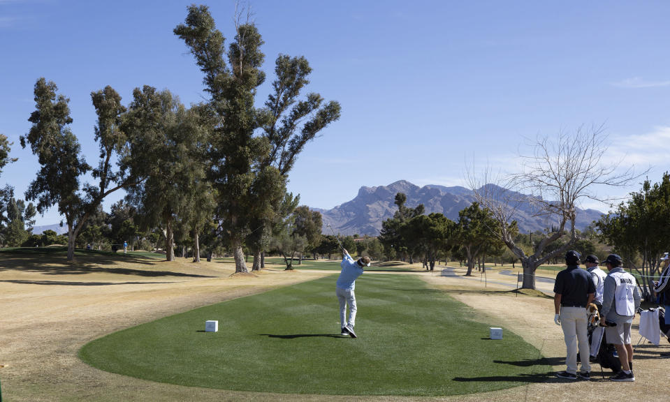 Bernhard Langer lofts a shot from the third tee during the second round of the 2021 Cologuard Classic golf tournament at the Omni Tucson National Resort on Saturday, Feb. 27, 2021. (Rick Wiley/Arizona Daily Star via AP)