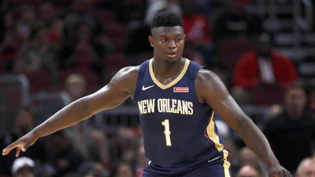 New Orleans Pelicans' Zion Williamson prepares to defend during the first half of an NBA preseason basketball game against the Chicago Bulls Wednesday, Oct. 9, 2019, in Chicago. (AP Photo/Charles Rex Arbogast)
