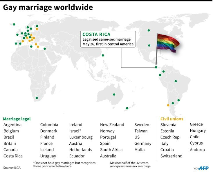 Countries and territories where gay marriage is allowed worldwide. Costa Rica legalised same-sex marriage on Tuesday, becoming the first Central American country to do so. (AFP Photo/)