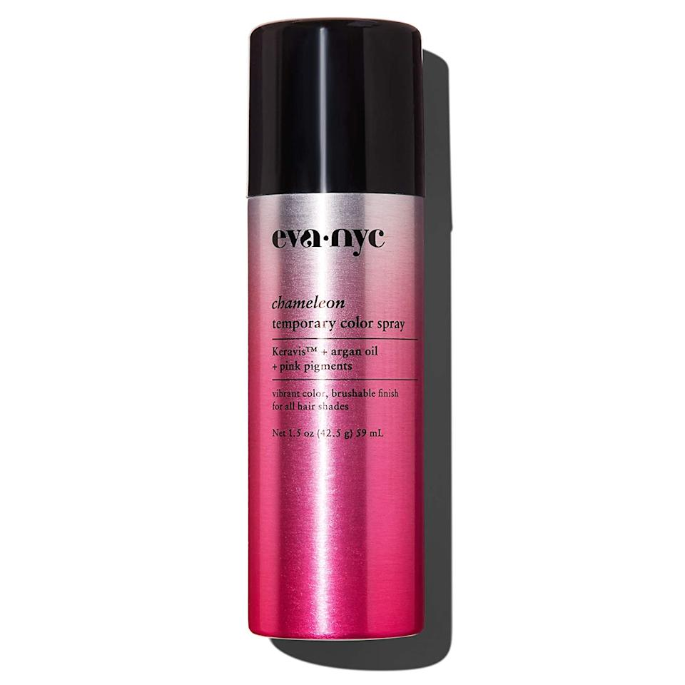 """<h3>Eva NYC Pink Chameleon Temporary Color Spray</h3><br><br>This can packs a powerful punch of hot pink pigment that'll show up on deep brunettes. Bonus: It's travel-friendly, and can fit right in your toiletry bag for an upcoming road trip.<br><br><strong>EVA·NYC</strong> Eva NYC Chameleon Color Spray, Pink, $, available at <a href=""""https://www.amazon.com/NYC-Chameleon-Temporary-Color-Spray/dp/B07P9KYW9F"""" rel=""""nofollow noopener"""" target=""""_blank"""" data-ylk=""""slk:Amazon"""" class=""""link rapid-noclick-resp"""">Amazon</a>"""