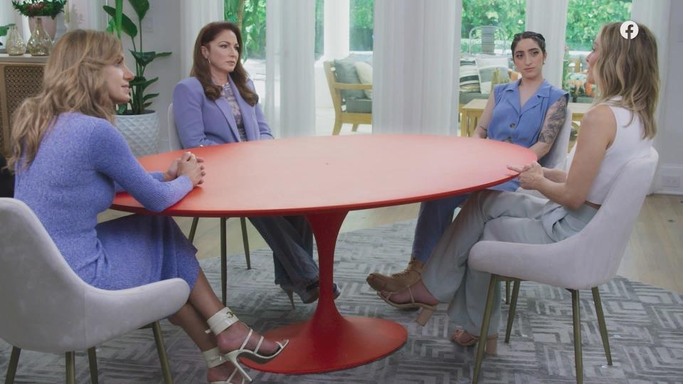 """CORRECTS SPELLING OF CLARE CRAWLEY - This image released by Facebook Watch shows co-hosts, from left, Lili Estefan, Gloria Estefan and Emily Estefan with guest Clare Crawley during a taping of """"Red Table Talk: The Estefans."""" In the episode """"Betrayed by Trusted Adults,"""" posted Thursday on Facebook Watch, Gloria Estefan revealed that she was sexually abused by someone her mother trusted when she was 9 years old. Crawley, the first Latina """"Bachelorette,"""" spoke about being abused by a priest when she was young. (Facebook Watch via AP)"""