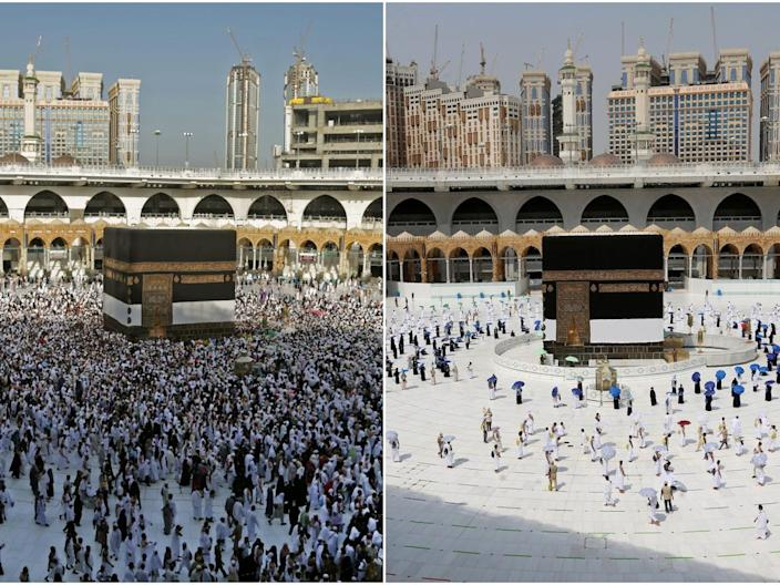 Pilgrims circle the Kaaba at the Grand Mosque in Mecca, Saudi Arabia in 2018 (left) compared to 2020.